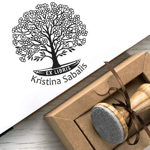 Personalisierter Stempel Baum des Lebens, Ex libris Stempel Schaukel Boot Blütenbaum Frühling Personalisiert, Stempel Individueller Text Holz, Einzigartige Kraft Geschenkbox