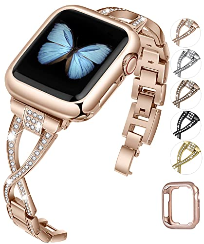 Mantimes Watch Bands Compatible with Apple Watch 38mm 40mm 42mm 44mm SE Series 6 5 4 3 2 1 Women Jewelry Metal Strap (Rose Gold,42mm/44mm)