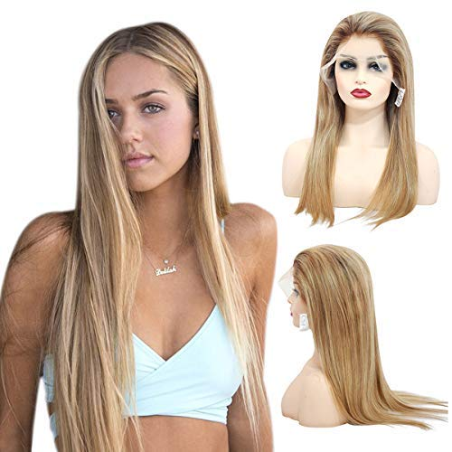 Ombre Balayage Lace Front Wig Brown to Golden Brown with Blonde Highlights 20 Inch 150% Density Brazilian Straight Remy Hair Glueless Lace Frontal Wig Full Head for White Women (Brown Hair With Full Head Of Highlights)