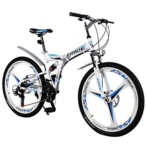 QJ Bicicletas de montaña, 27 Velocidad de la Bici Plegable con suspensión...