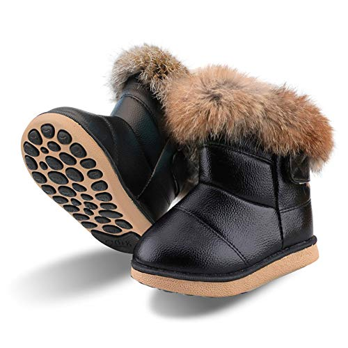 Baby Girls Soft Leather Booties Winter Snow Boots Kids Cute PU Warm Fur Outdoor Boots Keep Warm Waterproof Walking Shoes Flat for Toddler Girls Size 5 UK Child Black