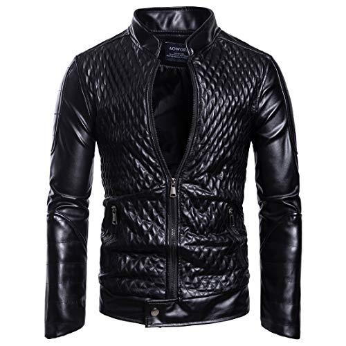 Legogo Herren Stehkragen Reißverschluss Mode Leder Jacke Mantel(M,Schwarz)