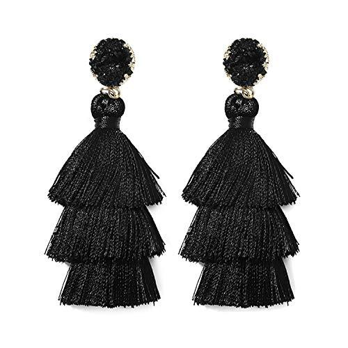 Rave Envy Black Tassel Earrings for Women - Colorful Layered Tassle 3 Tier Bohemian Style