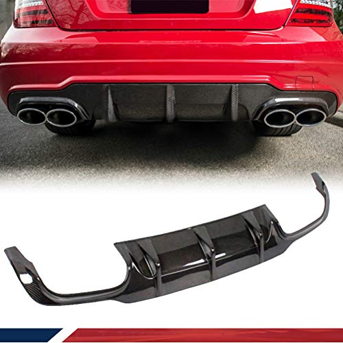 JC SPORTLINE Carbon Fiber Rear Diffuser fits for Mercedes Benz C63 AMG Sedan W204 2012-2015 Bumper Cover Lower Lip Spoiler Valance Protector Factory Outlet(Without Vent fin)