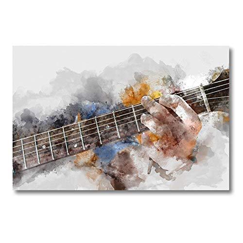 Abstracte mooie man spelen akoestische gitaar canvas schilderijen posters en prints kunst aan de muur foto's voor de woonkamer home decor-50x70cm (geen frame)