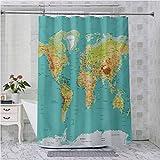Cortina de ducha Aishare Store, mapa del mundo geografía continentes y países imagen de cartografía física, 70 pulgadas de largo impermeable cortina de ducha, albaricoque verde mar