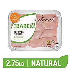 Just BARE All Natural Fresh Chicken Family Pack of Hand-Trimmed Boneless, Skinless Thighs, 2.75 Poun