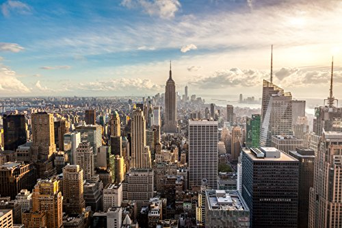 Papier Peint Photo Mural INTISSÉ-(44V) NEW YORK SKYLINE-350x260 cm -7 lés 50x260 cm- de haute qualité impression NUMÉRIQUE photo réaliste! Colle spéciale pour INTISSÉ- Non Woven - Poster Géant XXL-Manhattan Central Park Skyscrapes Ville États-Unis USA -Salon Nursery Cuisine