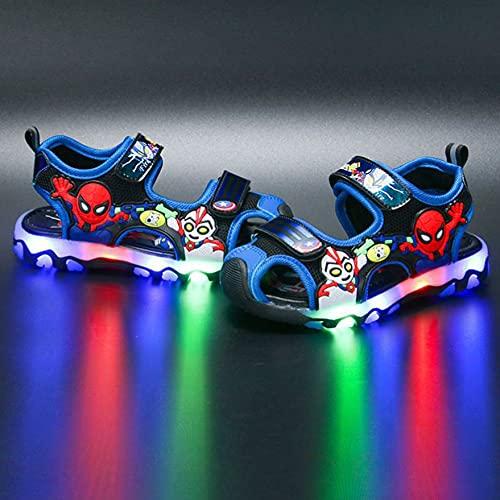 XNheadPS Boy Spiderman Glow Sandals Sandalias Deportivas con Punta Cerrada Sandalias con luz LED Zapatos Playa Verano Libre Escuela para niños Senderismo Deportiva,Blue- 31 Inner Length 19.0 cm