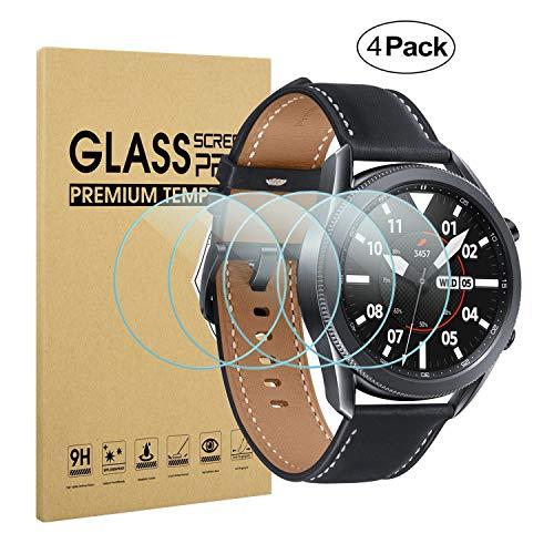 Diruite 4 Stück Panzerglas für Samsung Galaxy Watch 3 45mm Schutzfolie,HD Glas Displayschutzfolie für Samsung Galaxy Watch 3 Intelligente Uhr