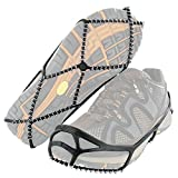 Yaktrax Men's Grips for Walking Shoes, Elastic Rubber Strap & 1.2mm Steel Coils, Provides Traction in Ice & Snow, Black, Medium