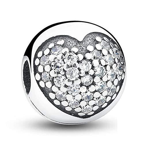Abalorio de plata de ley 925 con forma de corazón, para pulseras o collares similares