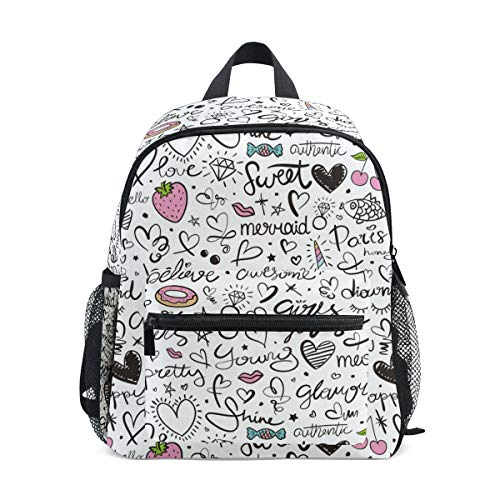 Chic Houses Donuts Heart Star Mini Casual Packback Pattern Pink Diamond Red Lips Hand Painted Creative Toddler Bookbag School Bag for 3 8 Years Old Boys Girls Kids Preschool Backpack 2030391