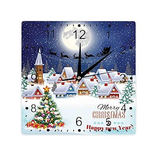 Luna Santa Claus Reno Hovering en invierno Cielo de un pequeño pueblo Ilustración Color Cuadrado Morden Reloj Slient
