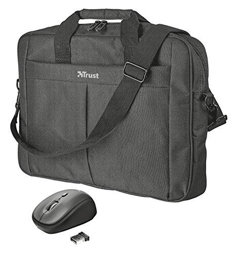 Trust Primo - Maletín de 16   para ordenadores portátiles y ratón inalámbrico compacto, color negro