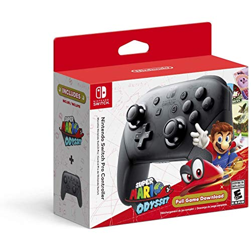 Nintendo Switch Pro Controller with Super Mario Odyssey Full Game Download Code