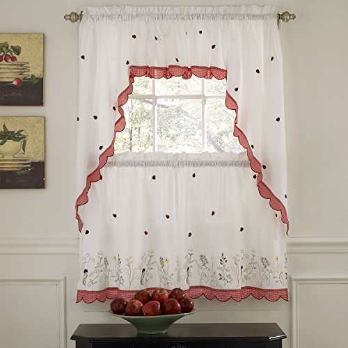 """Sweet Home Collection 5 Pc Kitchen Curtain Set, Swag, Valance Choice of 24"""" or 36"""" Tier Pair, Ladybug Red"""