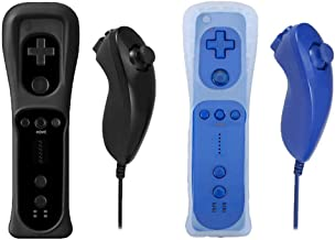 Poulep Gesture Controller and Nunchuck Joystick with Silicone Case for Nintendo Wii U Console (A- 2 Packs Black and Deep Blue 1)