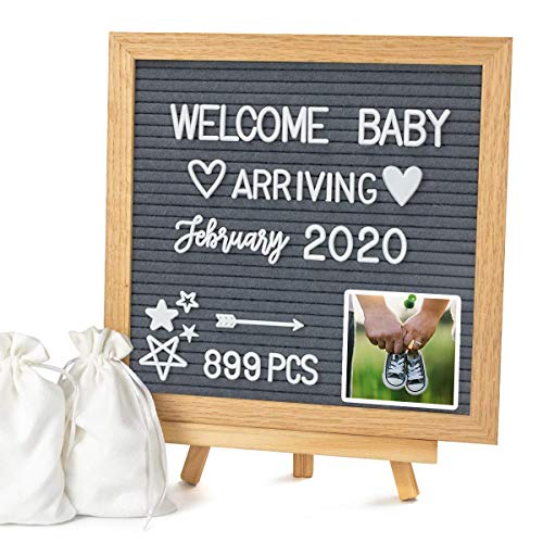 """Double Sided Felt Letter Board with Letters - 10"""" x 10"""" Rustic Wood Frame Message Board with Changeable Letter Boards Include Pre-Cut 889 White Plastic Letters"""