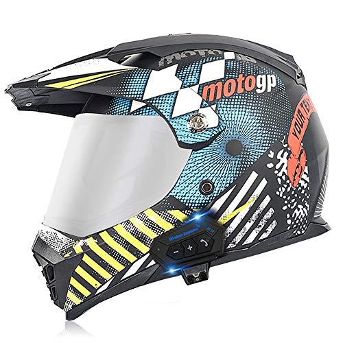 HKYMBM Casco Bluetooth para motocicleta, casco de choque de cara completa para adultos, sistema integrado de comunicación de intercomunicación de radio FM, D, XL