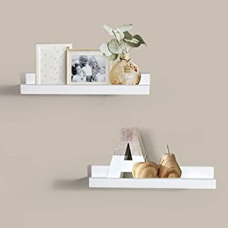 ZGZD Picture Ledge Wall Shelf Display Floating Shelves, 4-inch Deep, Set of 2 (White)