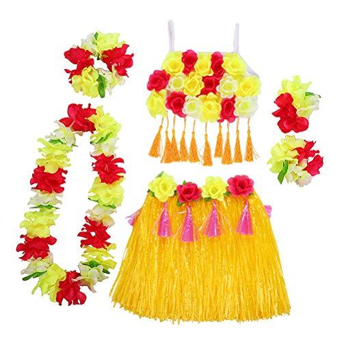 Amosfun Hawaii Tropical Hula Gras Tanzrock Blume Armbänder Kopfschleife Hals Kranz Set Sommer Party Performance Kostüm - Gelb