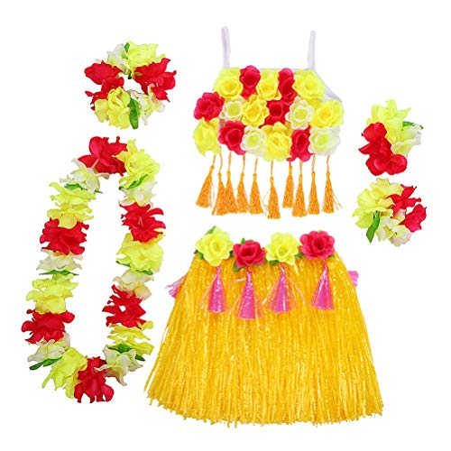 Amosfun Hawaii Tropical Hula Grass Dance Rock Blume Armbänder Kopf Schleife Hals Kranz Set Tropical Party Supplies Sommer Party Leistung