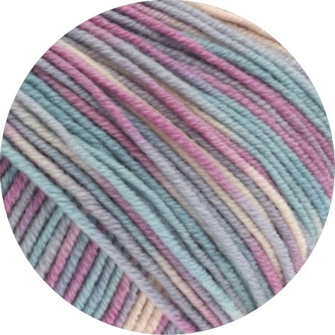 Lana Grossa Cool Wool Print 792 - Silbergrau/Mint/Flieder/Blassrosa