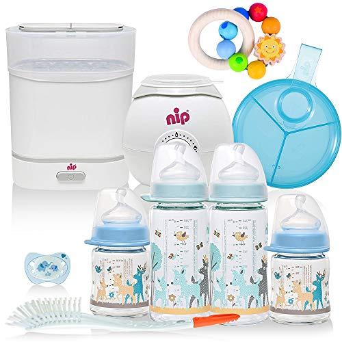 NIP® Boys All-in One Premium Mega Set Starter Set mit Babyflaschen aus GLAS, Sterilisator (Dampfgarer), Flaschen-und Babykostwärmer, Milchportionierer, Flaschen etc, ab Geburt