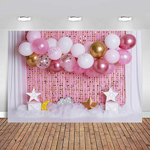 GSDJU happy birthday banner,bunting,decoration,party,wreath,reusable,Cake Smash Pink Balloons Photography Background for Photo Studio Baby Shower Girl Birthday Photozone Star Moon Banner