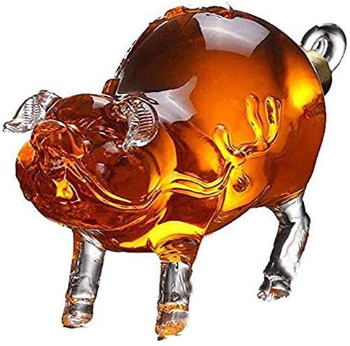 ZSWB Dispensador de Botellas de Whisky Reutilizable, casero Cerdo de Vidrio Decantador de Barras Licores de Vidrio sin Plomo Decantadores Todas Las Ocasiones Cumpleaños, Navidad, Aniversario