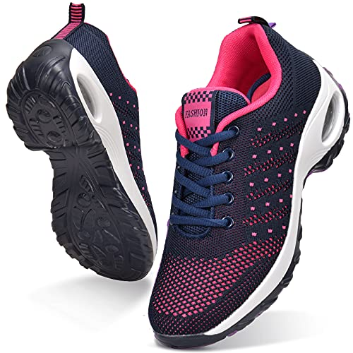 JIANKE Zapatillas Deportivas de Mujer Transpirables y Ligero Zapatos de Malla Cojín de Aire Antideslizantes Shekers Azul Rojo, 39 EU