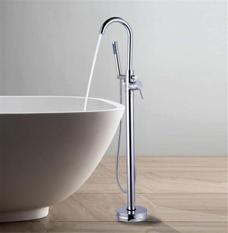 FFJTS Boden Wasserhahn - Premium Mischhahn - Voller Kupfer Chrom Badewanne Wasserhahn