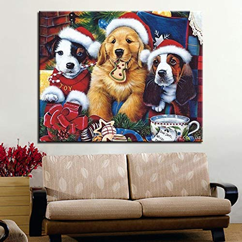 Canvas type kleuren olieverfschilderij schattige hond met kerstmuts foto kinderkamer frameloze schilderij 30x40cm