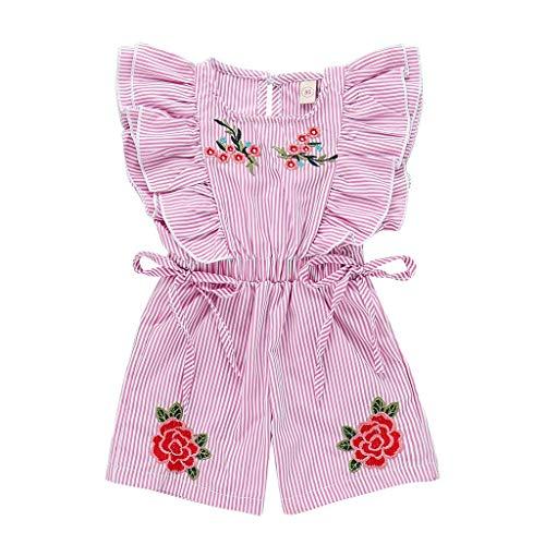 Hui.Hui Bambin BéBé Fille Rayé Broderie Fleur Rose Imprimé Combinaison Barboteuse Tenues VêTements Jumpsuit Romper pour Enfants 1-5 Ans