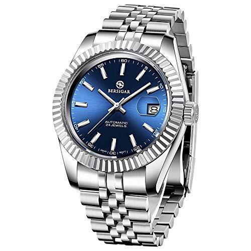 BERSIGAR Herren wasserdicht Edelstahl automatische mechanische Uhr Kalender Armbanduhr wasserdicht automatische analoge Uhr