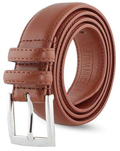 John William Leather Belts For Men - Mens Tan Brown Belt - 1.18' Dress & Casual Men's Belt in Gift Bag - 36 Burnt Amber