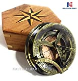 NauticalMart Brass Compass Sundial Clock Marine Boat Gift Pocket Replica Collectible
