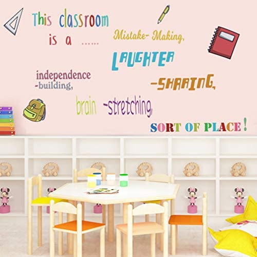 TOARTi Colorful Lettering Wall Decal School Supplies Stickers Inspirational Quote Wall Art for product image