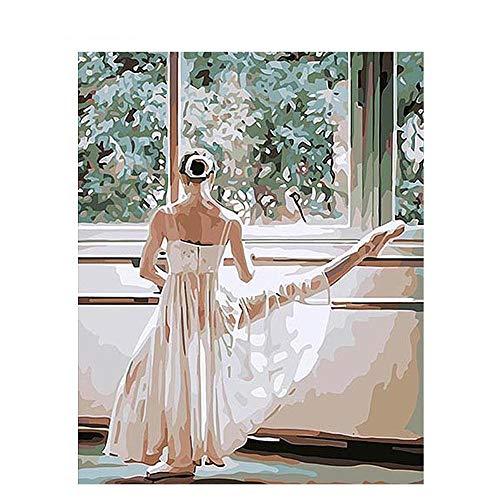 JHDGL Pintura por Numeros Adultos Bailarina de Ballet DIY Pintar de Lona 40x50cm para Niños con Pinturas Acrílicas y Pinceles(Sin Marco)