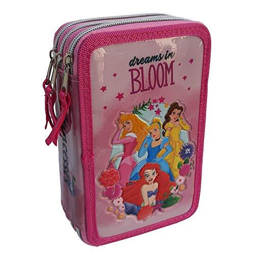 Estuche escolar 3D Princesas Disney Cenicienta Belle Aurora Ariel Multicompartimento con 3 cremalleras para colores Carioca - PR0630