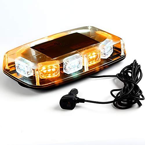 VKGAT 30 LED Roof Top Strobe Lights, Emergency Hazard Warning Safety Flashing Strobe Light Bar for Truck Car , Waterproof and Magnetic Mount 12-24V (Amber/White)