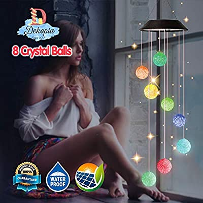 Dekopia Solar Wind Chimes Eight Crystal Balls Outdoor Decor Color Changing Light Sensor Solar Power eco Friendly Easy to use Waterproof Design Night Party Garden Decoration