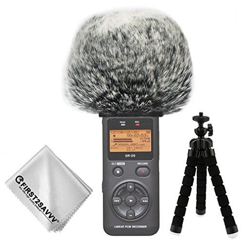 FIRST2SAVVV negro Micrófono Externo Peludo Parabrisas Manguito Para Grabadores digitales para Tascam DR-05 + Paño de limpieza + Mini trípode TM-DM-DR05-H01TZ3