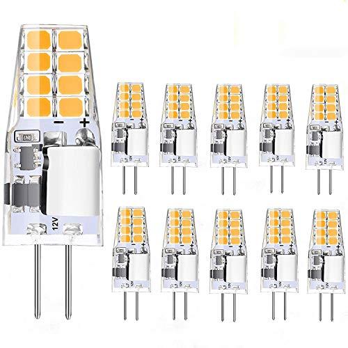 Jpodream G4 LED Lampen 10 Pack 2W G4 LED Bulbs Kein Flimmern G4 LED Warmweiß 3000K 220LM Ersatz für 20W Halogenlampe AC/DC-12V, CRI≥80+ 360 ° Strahlwinkel Energiesparlampen [Energieklasse A +]