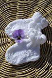 Babysocken Socken Erstlingssocken Stricksocken weiß Glitter handgestrickt gestrickt 0-6 Monate Taufe
