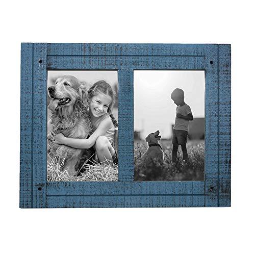 X-Point - Art Design Frame Marco para Cuadros Vintage, Marco para 2 Fotos, Fotos de 10 x 15 cm, Marco de Color Azul rubí para Collage de Fotos, rústico, Marco para Collage, Marco Retro