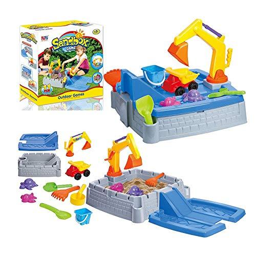 Kinderen 2-in-1 water zandbak, binnen en buiten de tuin spelen speelgoed vrachtwagen kraan bunker 2-in-1 zand water tabellen, kinderspeelplaatsen tijd
