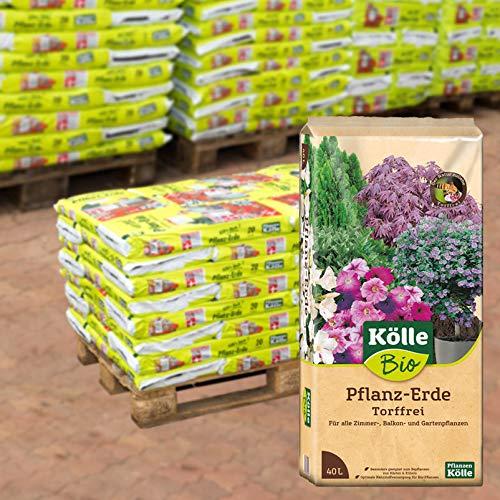 Kölle's Beste Pflanzerde, torffreie Pflanzenerde für alle Garten- und Balkonpflanzen, mit 1,5-Monate-Langzeitdünger, zum Topfen und Umtopfen, 30 Sack à 40 Liter Blumenerde