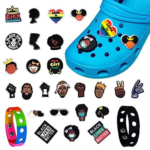Agvincy 25 pingentes unissex de sapatos Black Lives Matter para sapatos de crocodilo com 2 pulseiras de personalidade, decoração especial para festas de aniversário, festas de pingentes, Natal e Páscoa